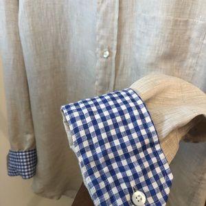 Luigi Baldo Kaki Long Sleeve Linen Button Up SzL